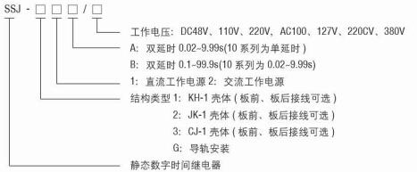SSJ-12B静态时间继电器型号命名