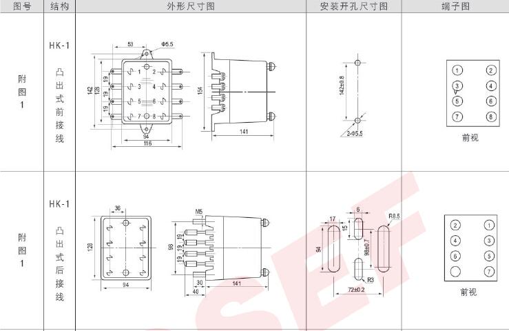 50w;在交流电路中触点的断开功率为250va 三,内部接线图及外引接线图