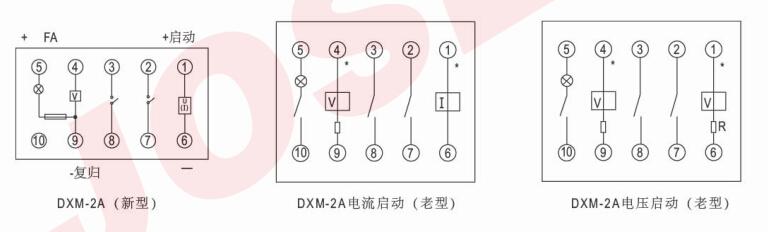 DXM-2A型信号继电器 一、用途 DXM-2A型信号继电器(以下简称继电器)适用于直流操作的保护线路和自动控制线路中,作为远方复归的动作指示器 二、主要技术数据 1、工作绕组额定值:220V、110V、48V、24V、0.01A、0.015A、0.025A、0.05A、0.075A、0.1A、0.15A、0.25A、0.5A、0.75A、1A、2A、4A。 2、释放绕组额定值:220V、110V、48V、24V。 3、动作值:电流启动继电器的动作不超过额定电流电压启动继电器的动作值不超过70%额定电压。