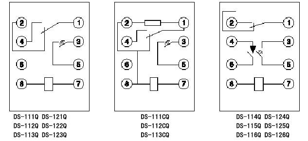 q系列时间继电器内部接线图(背视)