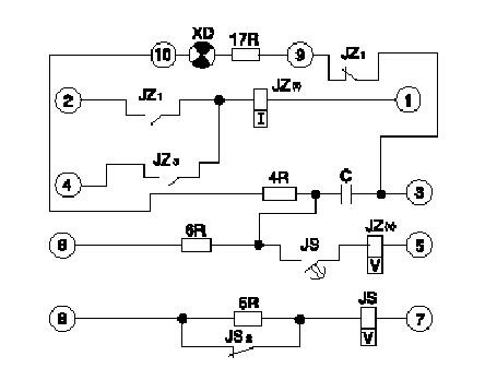 dh-1型继电器的内部接线图(背视)