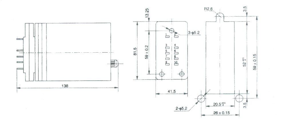 DZ-60系列中间继电器 1 用途 DZ-60系列中间继电器在自动控制线路中作为扩大被控制范围和提高接触能力。 2 动作原理及结构特点 2.1 动作原理 继电器的动作是根据电磁原理而产生的,属于快速动作继电器的一种,它具有一个交流或直流的吸引线圈。 2.2 结构特点 本继电器体积小,为了产生较大的吸引力,导磁体采用优质电工制造,且将轭铁制成山形,在轭铁中间铁芯上,对于直流继电器装有极靴,以增加吸力;对于交流继电器装有断路环,以消除触点的颤动,继电器的内部接线示于图1。 继电器安装在垂直平板上,其接线是后焊