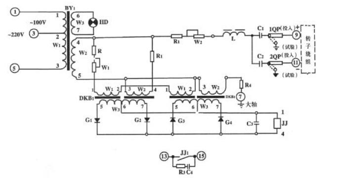 图 1 原理接线展开图 3 技术数据 3.1 额定电压100 220V 额定频率50Hz 3.2 整定范围转子接地电阻 0.5 20k 3.3 变差不大于5% 3.4 电容影响按表 1 中的整定值范围CJD 0与CJD=0 动作值之差不大于10% 3.5 电压影响当电源电压为额定值的90% 110%时其动作值与额定电压下动作值之差不大于10%