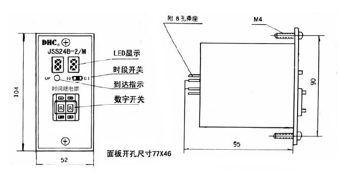 一 特点 JS14P,JS20P 等时间继电器的数显产品 外型尺寸和接线与其相同 LED 数字显示,数字开关设定 显示大,价格低 最适合塑机,橡胶机械及纺织机配套 符合的标准: Q/WDH 01-2003、GB 14048.5-2001、 IEC60947-5-1:1997 二 型号说明 JSS24B 延时两组转换 JSS24B-H 一组延时触头,一组瞬动触头 三 技术参数