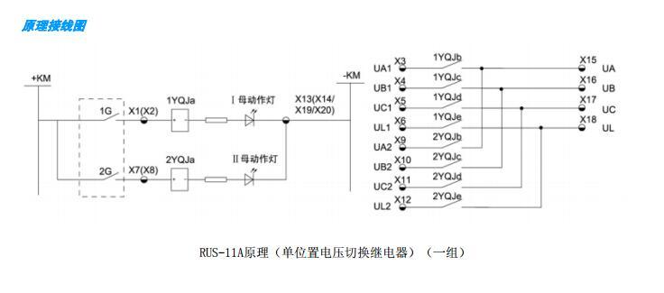 在双母线供电系统中,电压切换回路是必不可少的,RUS-11系列电压切换继电器可以完美替代传统的电压切换箱,并具有成本低、接线简单、节省空间和方便扩展的优点。该系列产品有一组电压切换,两组电压切换以及一组电压切换带信号接点,并有单稳态和双稳态可供选择,可以极大地满足用户的需求。